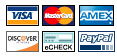 We accept PayPal and all major credit cards through a Secure Transaction!