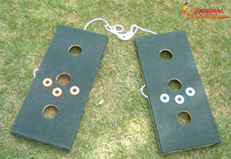 Carpeted Washers Toss Game - Three Hole Version