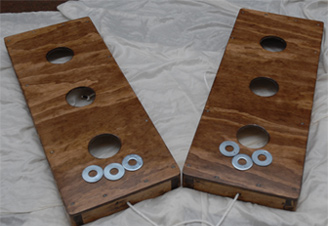 Stained Washers Toss Game - Three Hole Version