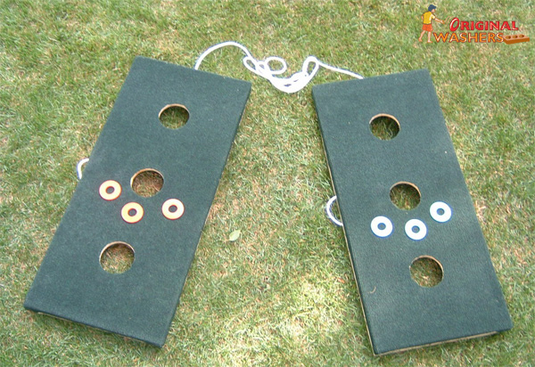 Carpeted Washers Toss Three Hole Version