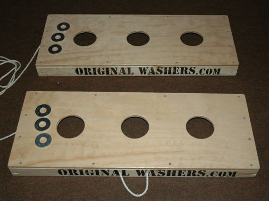 Washers Toss Set From A Top View